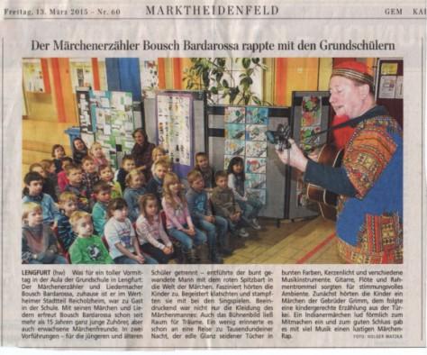 Der Märchenerzähler Bousch Bardarossa rappte mit den Grundschülern