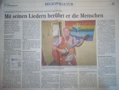 Zeitungsbericht in den Fränkischen Nachrichten vom 16. September 2017