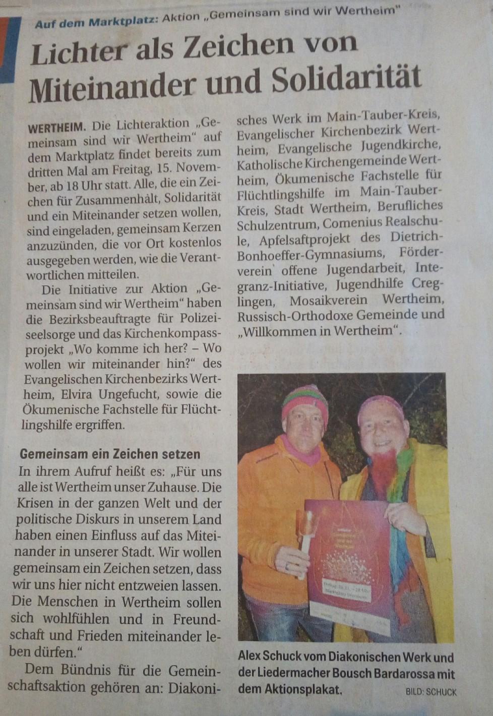 """Lichteraktion """"Gemeinsam sind wir Wertheim"""" 2019"""